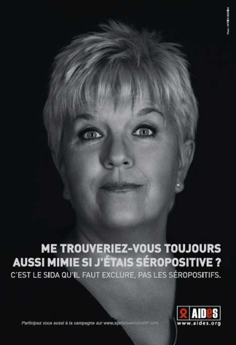 Mimie Mathy in AIDES print advertisement
