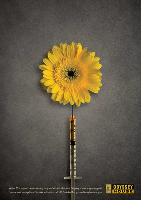 Odyssey House print advertisement - flower