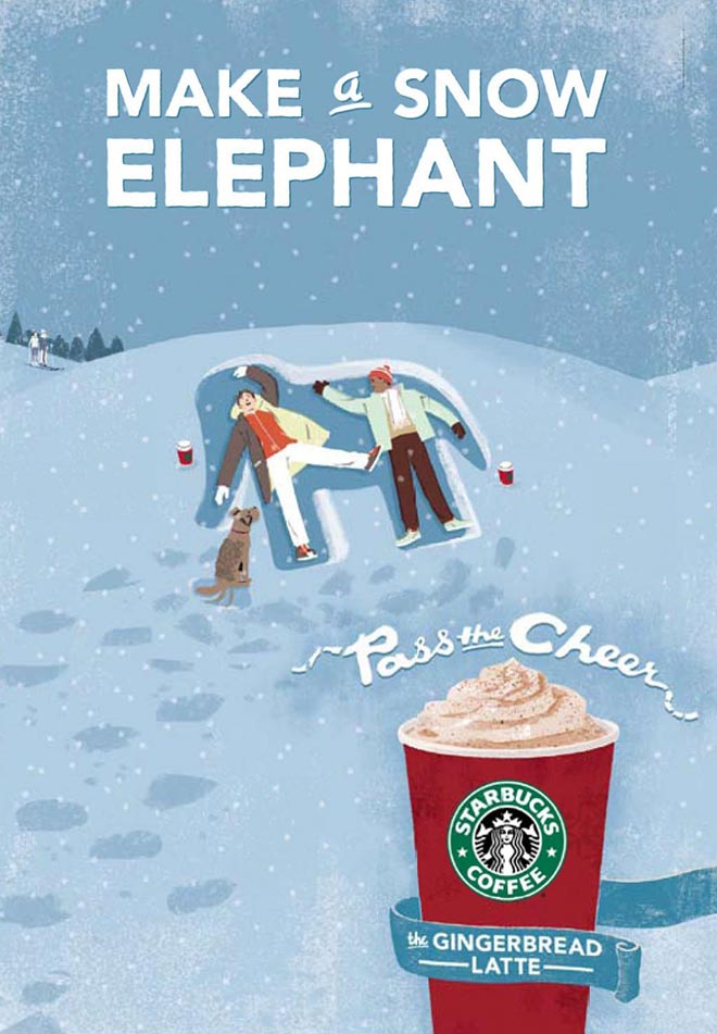Starbucks Make a Snow Elephant
