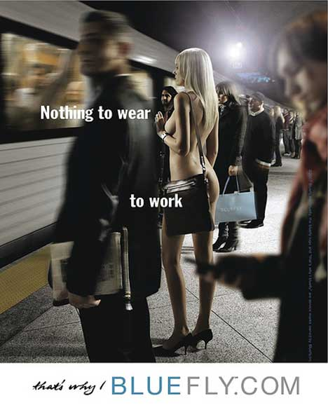 Bluefly train station print ad