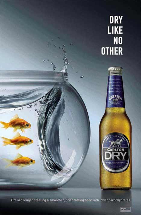 Water in fishbowl repelled by Carlton Dry beer