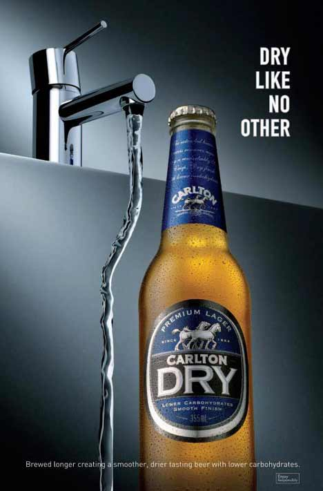 Water from tap repelled by Carlton Dry beer