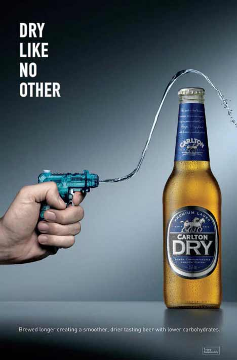 Water from water pistol repelled by Carlton Dry beer