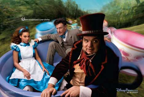 Beyonce in Disney Mad Hatters Tea Party print ad
