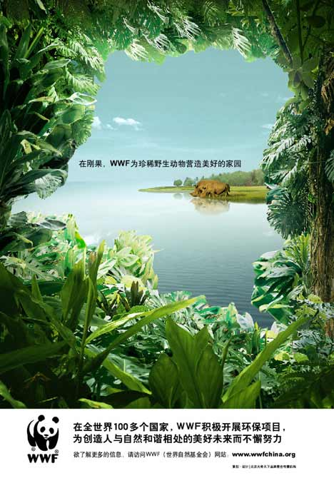 Water buffalo in WWF China print ad