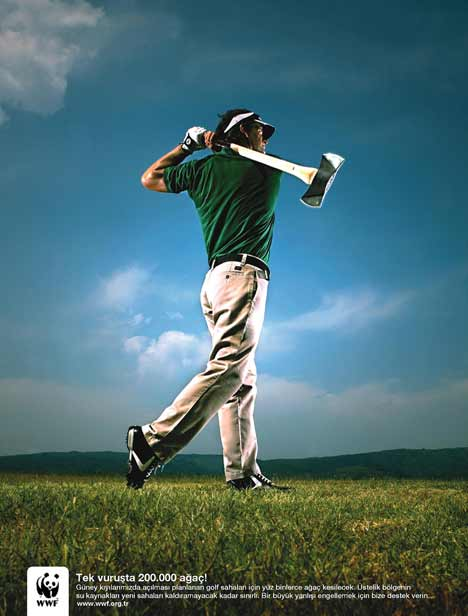 Golfer wields an axe in WWF Golf Course print ad