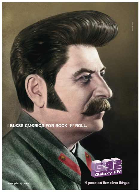Josef Stalin in Galaxy 92FM print ad