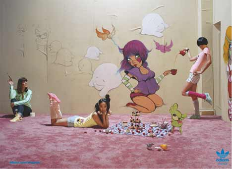 Fafi-inspired tea party in Adidas Originals Print Ad