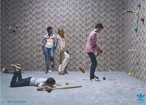 Men play croquet in three dimensions in Adidas Originals Print Ad