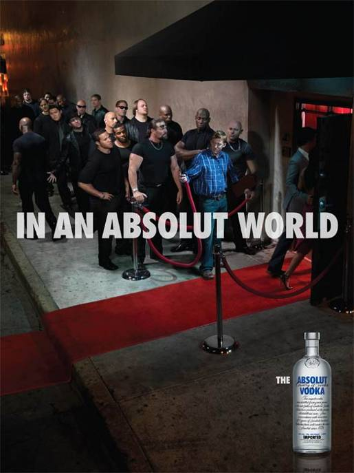 Bouncers line up in Absolut World
