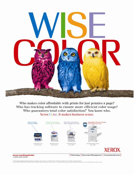 Xerox - Three owls in Wise Color print ad