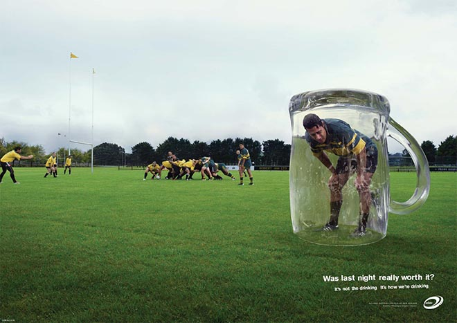 Rugby player experiences hangover in glass