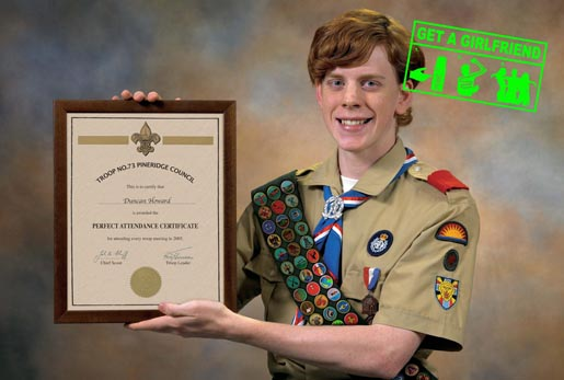 Scout with certificate for perfect attendance record