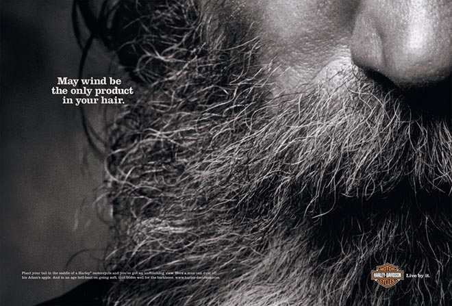 Harley Davidson Wind in Your Hair Beard Print Ad