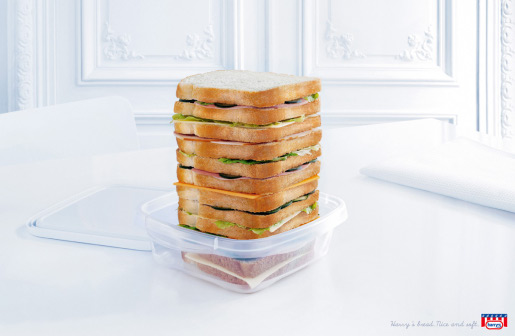 Sandwich print advertisement for Harrys Bread
