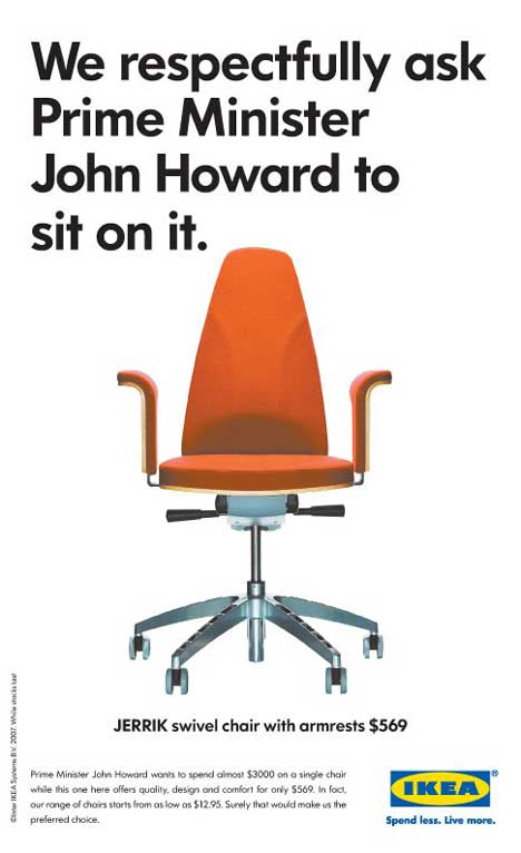 IKEA print advertisement for swivel chair