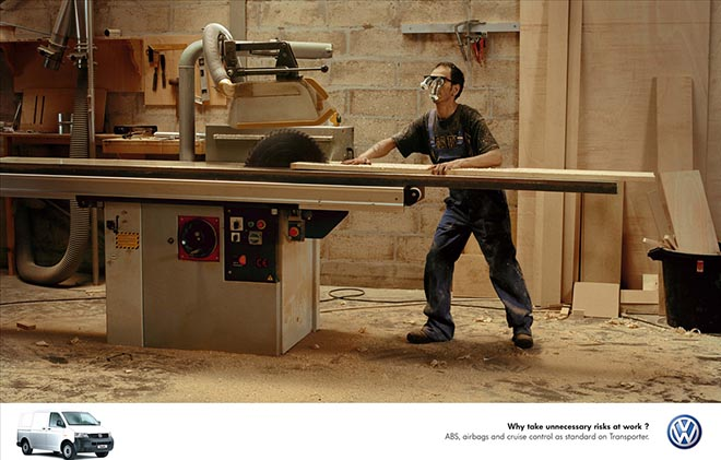 Man risks losing his hand using saw in Volkswagen advertisement