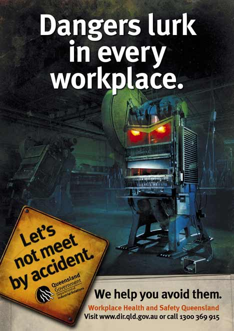 Guillotine becomes a menace in workplace print ad