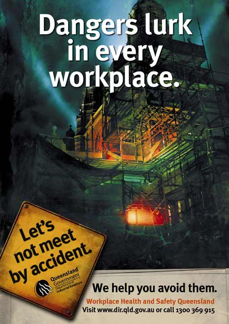 Scaffold becomes a menace in workplace print ad