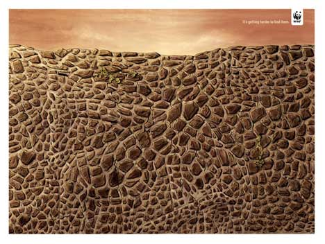 Giraffe hiding in WWF print advertisement