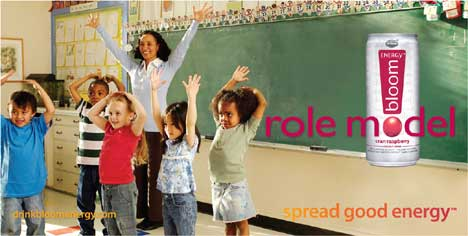 School teacher with children in Bloom print ad
