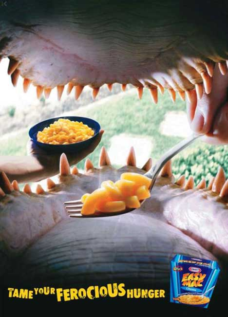 Crocodile jaws in Easy Mac print advertisement