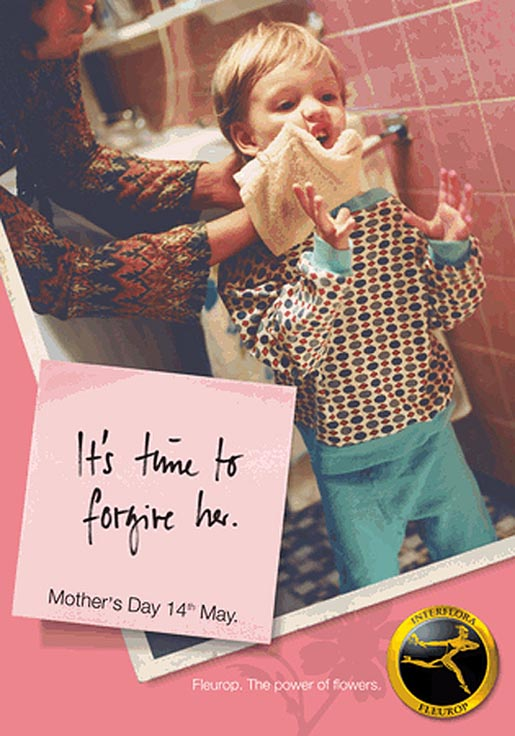 Child with face cloth for Fleurop Interflora Mothers Day print advertisement