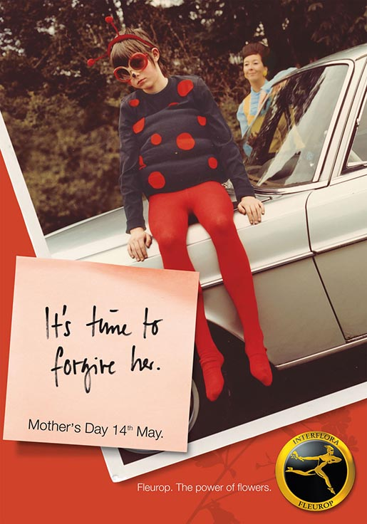 Child in Ladybird outfit for Fleurop Interflora Mothers Day print advertisement