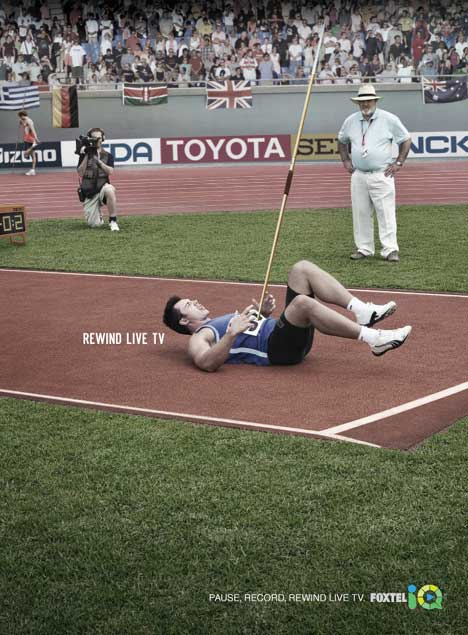 Javelin thrower hit by his own javelin