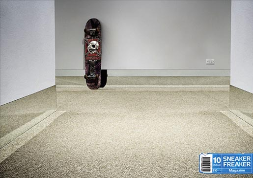Skateboard and mirrors in Sneaker Freaker print ad