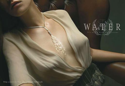 Woman wearing water necklace