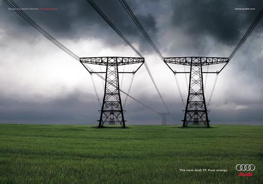 Pylons in Audi TT print advertisement