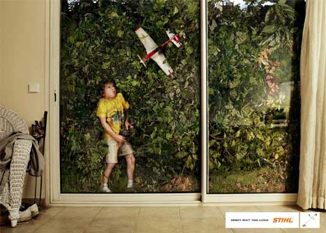 Boy attempts to use remote controlled plane in Stihl print ad