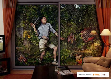 Man attempts to play tennis in Stihl print ad