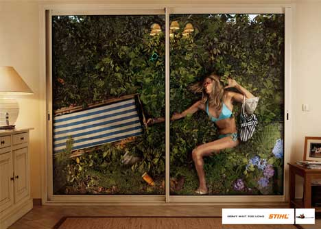 Woman attempts to move outdoor furniture in Stihl print ad