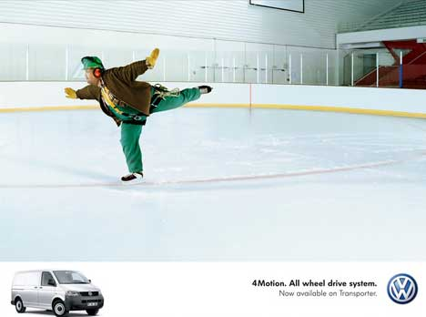 Pruner skates in VW Transporter print ad