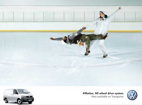 Ice skaters in VW Transporter print ad