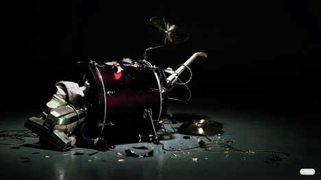 Drum smashed in Panadol Extra print advertisement