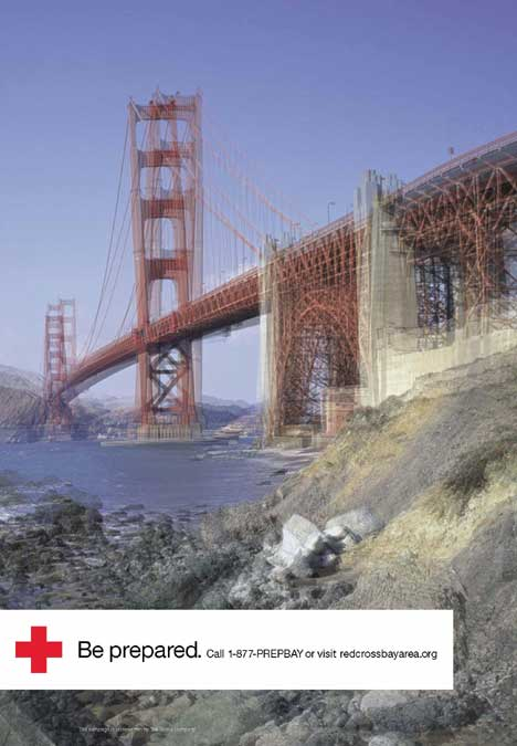 Golden Gate earthquake warning from Red Cross San Francisco