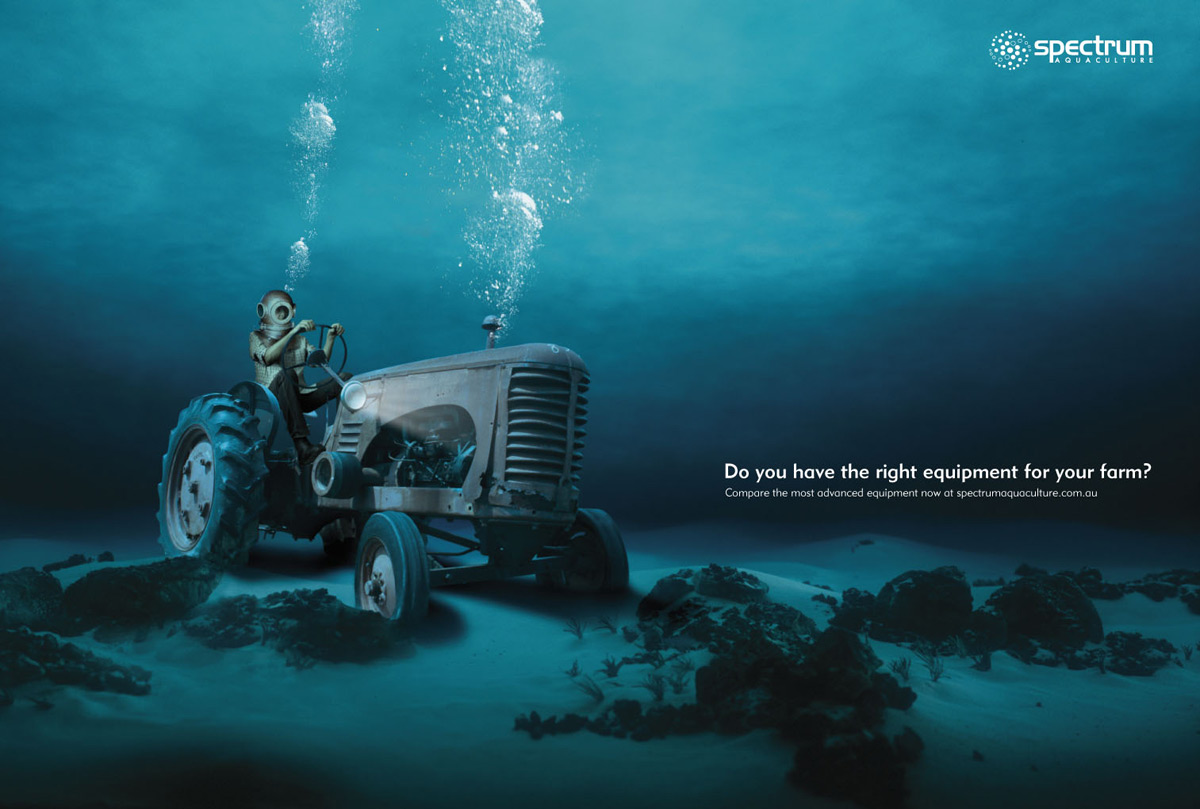 Underwater tractor in Spectrum Aquaculture print ad