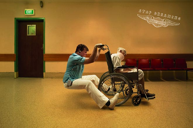 Wheelchair in Harley print ad
