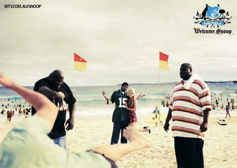 Snoop Dogg on the beach in MTV print ad
