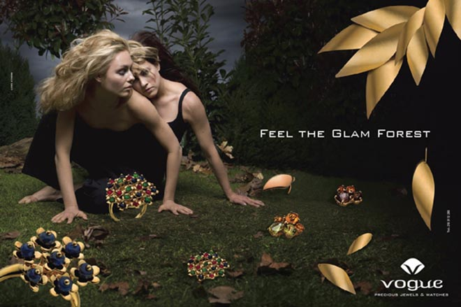 Glam Forest ad for Vogue jewelry