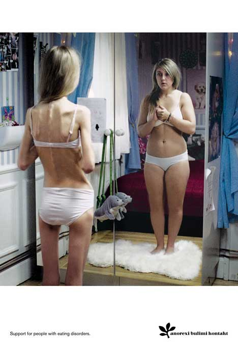 Anorexic woman sees a fatter version of herself in the mirror