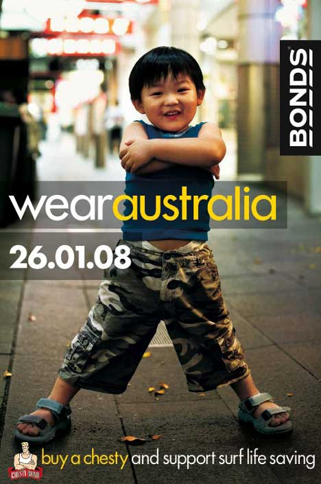 Boy in fatigues wears Bonds Chesty singlet in Bonds Wear Australia advertisement
