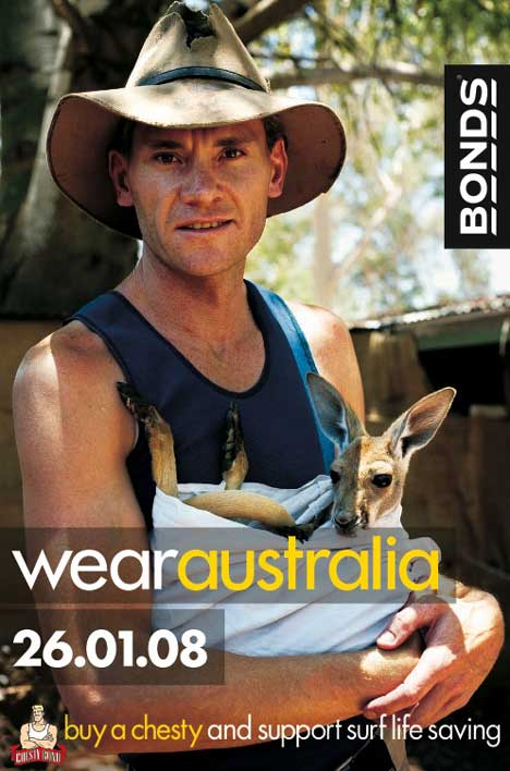 Joey kangaroo in Bonds Wear Australia advertisement