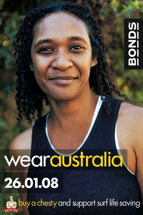 Woman wears Bonds Chesty singlet in Bonds Wear Australia advertisement