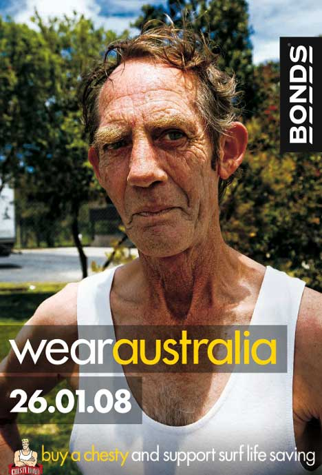 Man wears Bonds Chesty singlet in Bonds Wear Australia advertisement