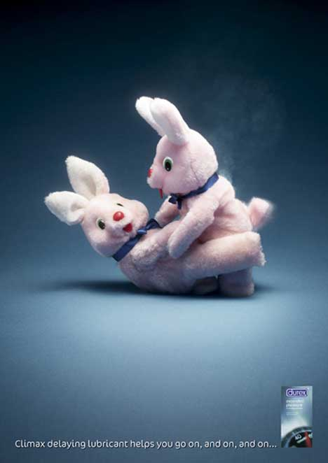 Durex Bunnies print advertisement