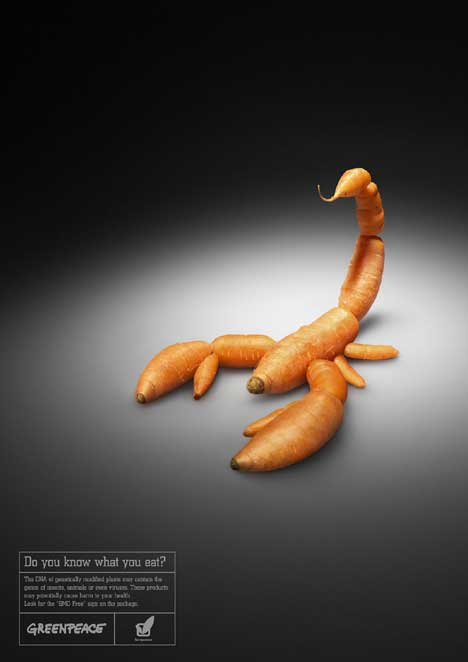 Scorpion of carrots in Greenpeace  print advertisement